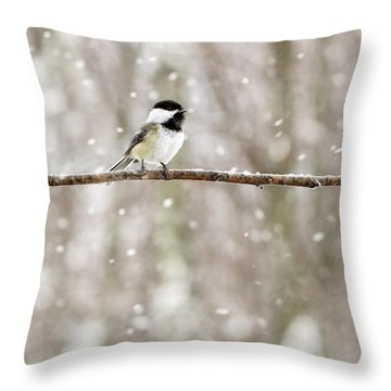Sing Chickadee Sing Throw Pillow