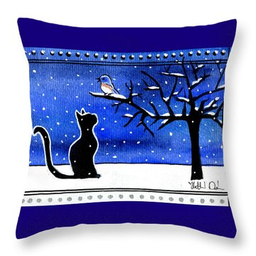 Sing For Me - Black Cat Card Throw Pillow