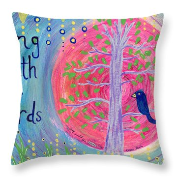 Sing With The Birds Throw Pillow