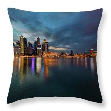 Singapore City Skyline At Evening Twilight Throw Pillow by David Gn