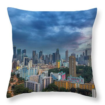 Singapore Cityscape At Sunset Throw Pillow by David Gn