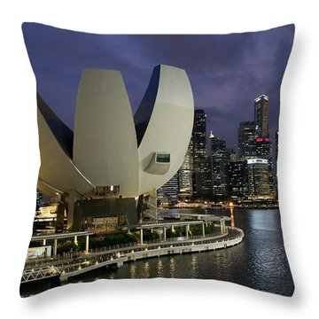Singapore Harbor Throw Pillow by Diane Height