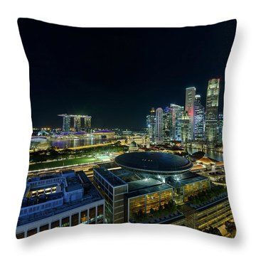 Singapore Modern Skyline By The River At Night Throw Pillow by David Gn