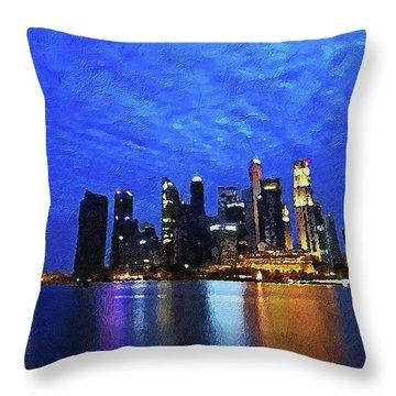 Throw Pillow featuring the digital art Singapore City by PixBreak Art
