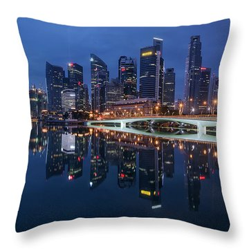 Throw Pillow featuring the photograph Singapore Skyline Reflection by Pradeep Raja Prints