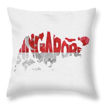 Singapore Typographic Map Flag Throw Pillow