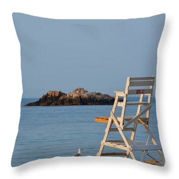 Singing Beach Lifeguard Chair Manchester By The Sea Ma Throw Pillow