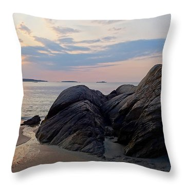 Singing Beach Rocky Sunrise Manchester By The Sea Ma Throw Pillow