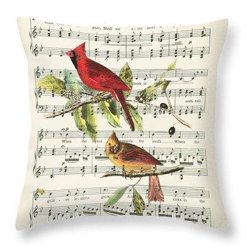 Singing Cardinals Throw Pillow