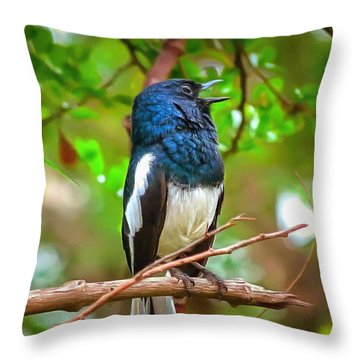 Singing Ceylonese Robin-magpie Throw Pillow