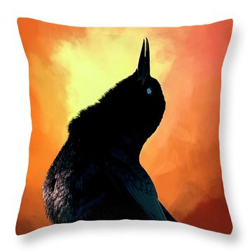 Singing  Throw Pillow by Cyndy Doty