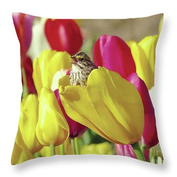 Singing In Tulips Throw Pillow