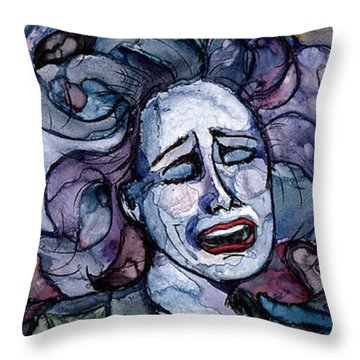 Singing Lady-blues Throw Pillow