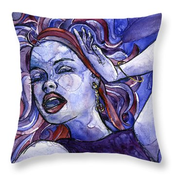 Singing Lady- Jazz Throw Pillow