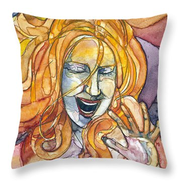 Singing Lady-orange Throw Pillow