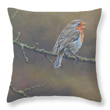 Throw Pillow featuring the painting Singing Robin by Alan M Hunt