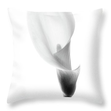 Throw Pillow featuring the photograph Single Cala Black And White by Rebecca Cozart
