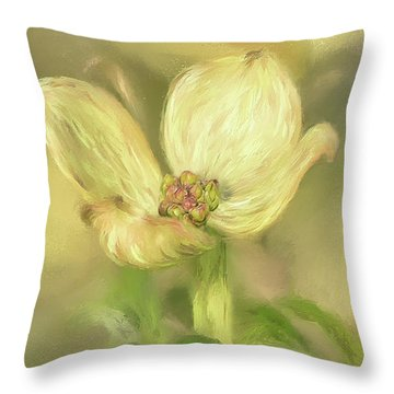 Single Dogwood Blossom In Evening Light Throw Pillow by Lois Bryan