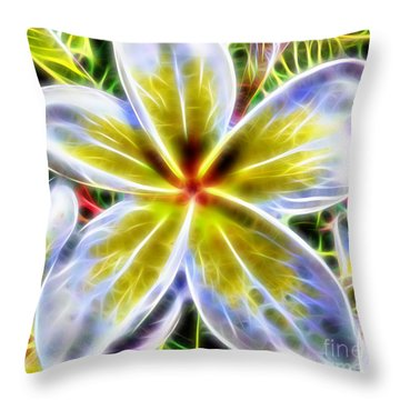 Single Fractal Frangipani Throw Pillow