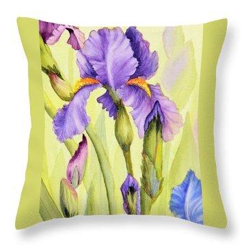 Single Iris Throw Pillow