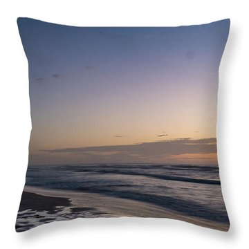 Single Man Walking On Beach With Sunset In The Background Throw Pillow