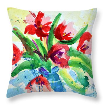 Single Minded Flowers Throw Pillow
