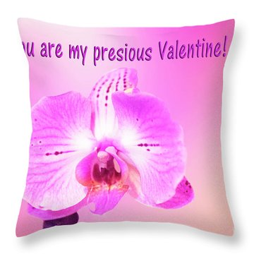 Throw Pillow featuring the photograph Single Orchid Valentine by Linda Phelps