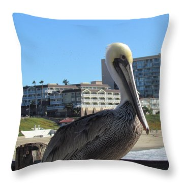 Single Pelican On The Pier Throw Pillow
