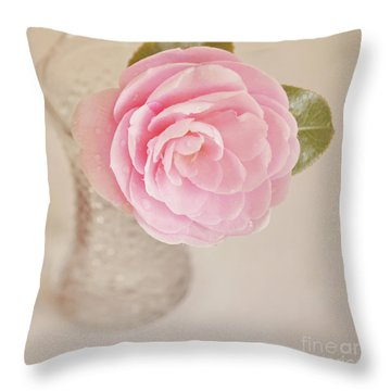 Throw Pillow featuring the photograph Single Pink Camelia Flower In Clear Vase by Lyn Randle