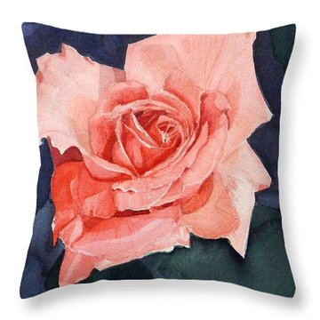 Watercolor Of A Magic Bright Single Red Rose Throw Pillow