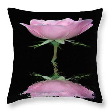 Single Reflected Pink Rose Throw Pillow