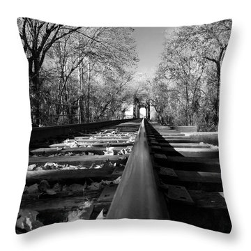 Single Track Mind - Black And White Throw Pillow