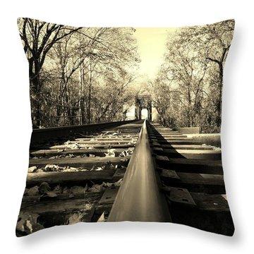 Single Track Mind - Sepia Throw Pillow