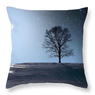 Single Tree In Moonlight Throw Pillow