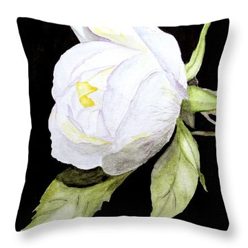 Throw Pillow featuring the painting Single White  Bloom  by Carol Grimes