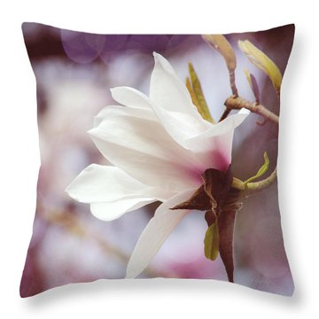 Single White Magnolia Throw Pillow