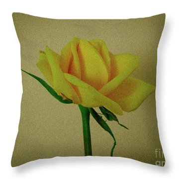 Single Yellow Rose Throw Pillow