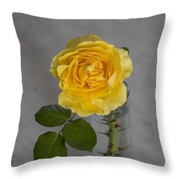 Single Yellow Rose With Thorns Throw Pillow
