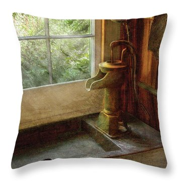 Sink - Water Pump Throw Pillow by Mike Savad