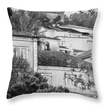 Throw Pillow featuring the photograph Sintra In Black And White by Julie Palencia