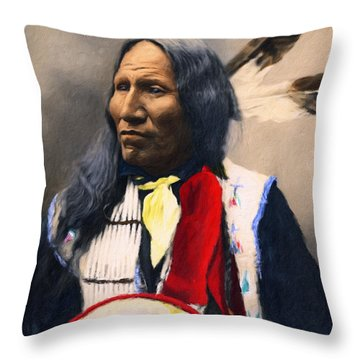 Sioux Chief Portrait Throw Pillow