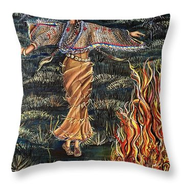 Sioux Woman Dancing Throw Pillow