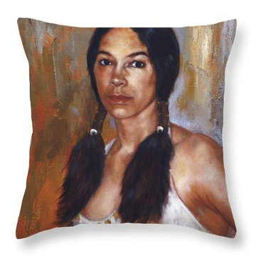 Sioux Woman Throw Pillow
