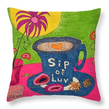 Sip Of Luv Throw Pillow