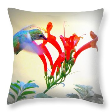 Sipping The Nectar Throw Pillow