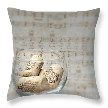 Sipping Wine While Listening To Music Throw Pillow by Sherry Hallemeier