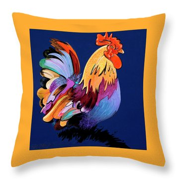 Throw Pillow featuring the painting Sir Chanticleer by Bob Coonts