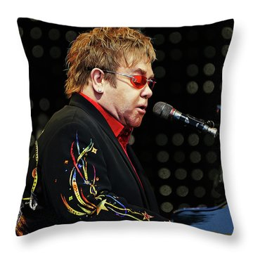 Sir Elton John At The Piano Throw Pillow by Elaine Plesser