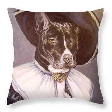 Throw Pillow featuring the painting Sir Pibbles by Laura Aceto
