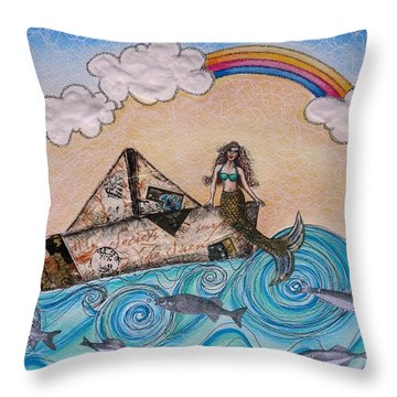 Siren On A Paper Boat Throw Pillow